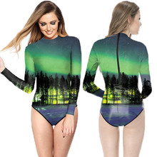 Aurora Forest Print Women Zipper Monokinis Long Sleeve Bodycon Dive Surfing  Wear Green Galaxy Space Swimsuit 5e492eefe