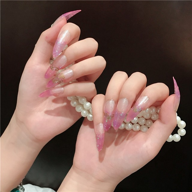 Super Long Nail Tips Pointed Curve Fake Nails Light Purple Clear Glitter Lady Fashion Diy Manicure Tool Accessorries