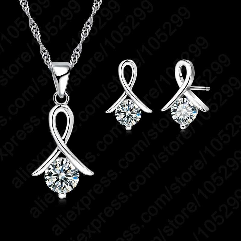 Women 925 Sterling Silver Fashion Necklace Earrings Jewelry Set For Wedding Party Cubic Zircon Cartilage Piercing Earrings