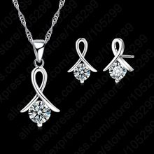 Women 925 Sterling Silver Fashion Necklace Earrings Jewelry Set For Wedding Party Cubic Zircon Cartilage Piercing Earrings(China)
