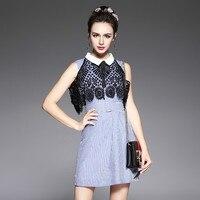 Для женщин в полоску хлопковая Рубашка летнее платье без рукавов Кружево Прикрепленный воротник поясом Мини-платья синий Размеры S до 5xl