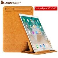 Jisoncase Luxury Microfiber Sleeve Case for iPad Pro 10.5 2017 Vintage Pouch Bag Foldable Cover Old Version Pen Slot Tablet Case