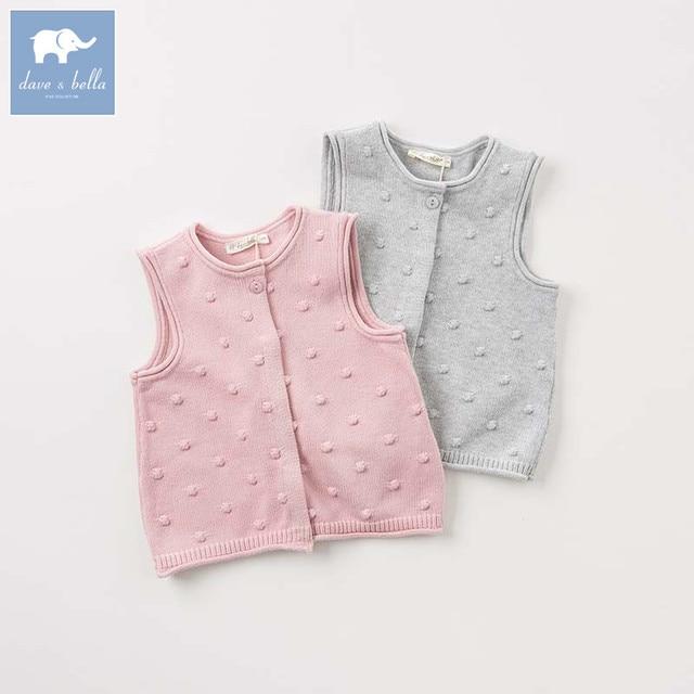 Dba Dave Bella Autumn Baby Sleeveless Knit Vest Girls Lovely Coat Children Knitted Sweater  Piece