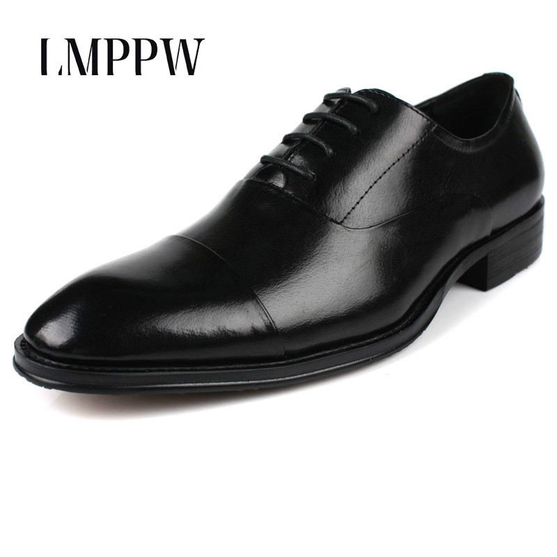 6264cc6df4e Luxury Brand Genuine Leather Black Formal Dress Shoes for Men Oxford Shoes  Classic Office Wedding Men