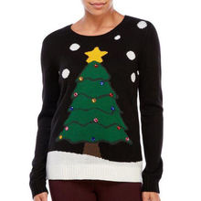 Cute Women Christmas Tree Snow Print Long Sleeve Knitted Jumper Sweater Pullover Tops