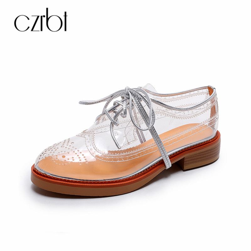 CZRBT 2018 Brand New Transparent Shoes Women Flat Round Toe Lace Up Oxfords Plus Size 34-41 Breathable Women Flats Casual Shoes new women casual boat ballet shoes women round toe flats oxfords breathable lace up walking shoes zapatos plus size 35 40 w237