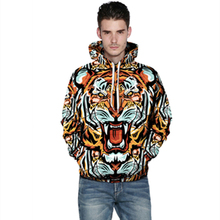 Harajuku 3D Print Tiger Sweatshirts Fashion Long sleeve with hat Men Women vogue Hooded Hoodies Tracksuit Animals Sweatshirts