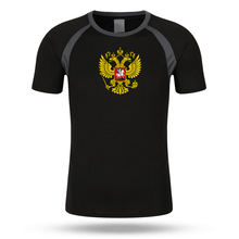 2017 New Raglan Sleeve Men T Shirt Short Sleeve Print Russian Double-Headed Eagle T-shirt Summer Quick Dry Fitness Clothing