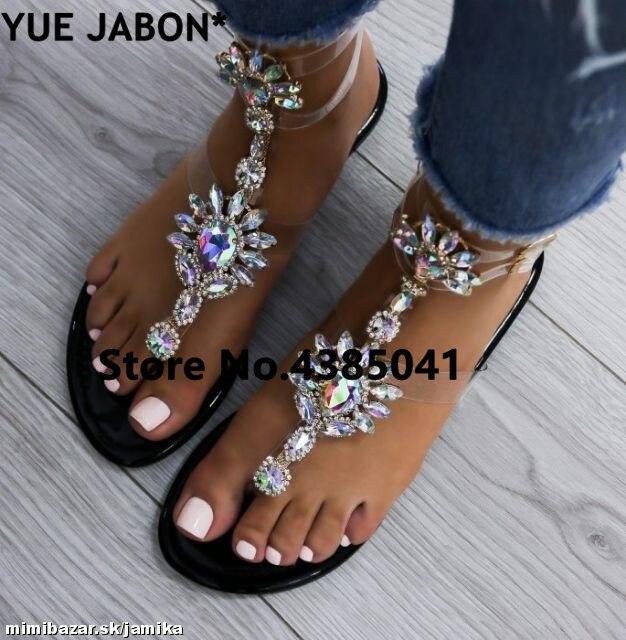 HTB1rG91Ab1YBuNjSszeq6yblFXao 2019 shoes woman sandals women Rhinestones Chains Flat Sandals Thong Crystal Flip Flops sandals gladiator sandals 43 free ship
