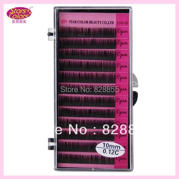 सी / जे कर्ल 0.12 मिमी गुलाबी खुले सिंथेटिक बाल व्यक्तिगत काले झूठी पलकें एक्सटेंशन प्राकृतिक झूठी पलकें 12 स्ट्रिप्स / पैक