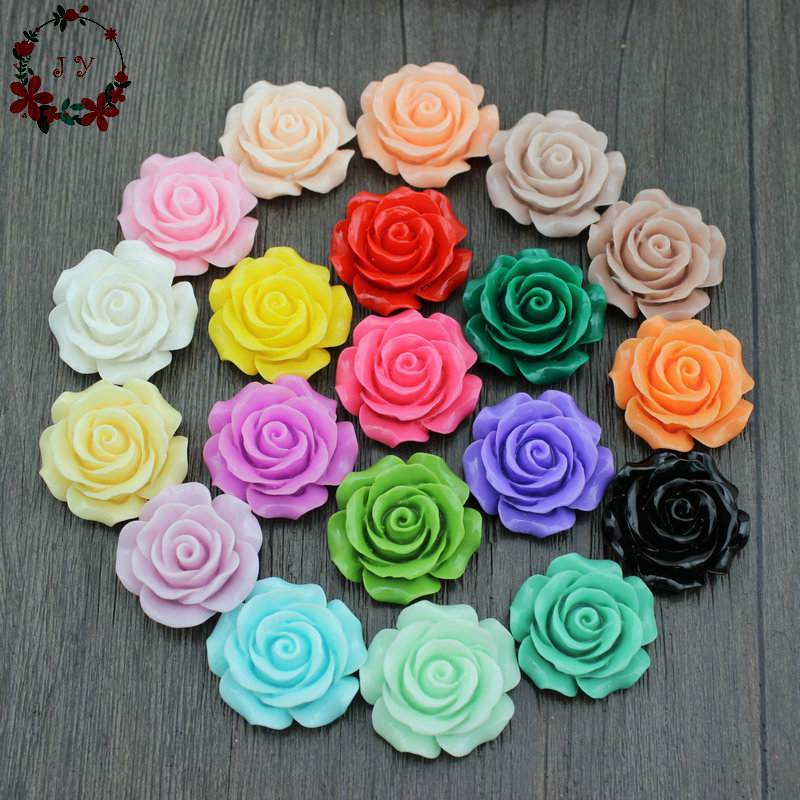 50pcs/lot Sweety Assorted Rose Flower Flatback Resin Cabochon Glossy Miniature Gems, Cabs 28mm for DIY Work