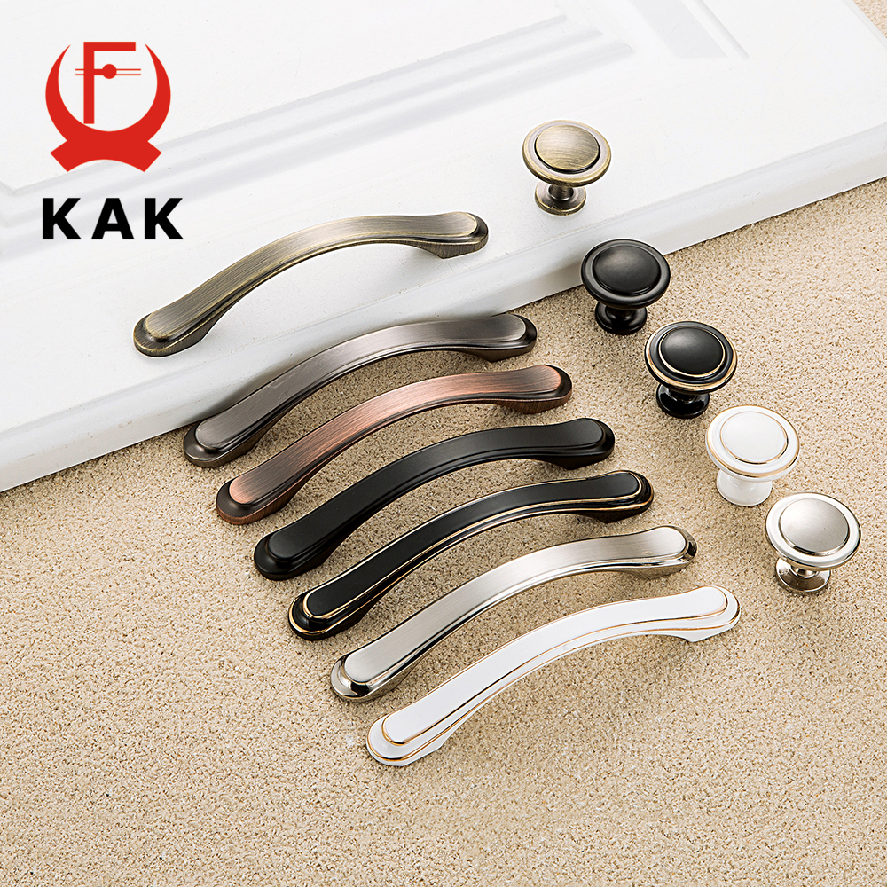 KAK Modern Zinc Alloy Cabinet Handles Kitchen Cupboard Door Pulls Drawer Knobs Fashion Handles Wardrobe Pulls Furniture Handle hot selling ceramic zinc alloy kitchen cabinet furniture knob cupboard door pulls drawer wardrobe knobs handles 5pcs lot