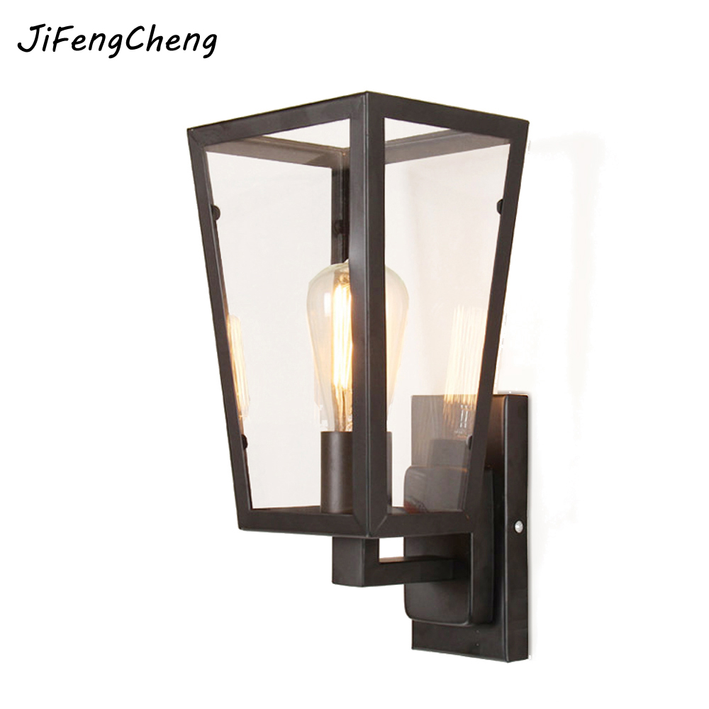 Loft Personality Retro Glass Wall Lamp American Village Iron Sconce Antique Restaurant Bar Corridor Led Light Aisle Wall Lamp american rural retro wall lamp nordic industrial loft sconce creative restaurant bar aisle bedside lamp outdoor wall light e27