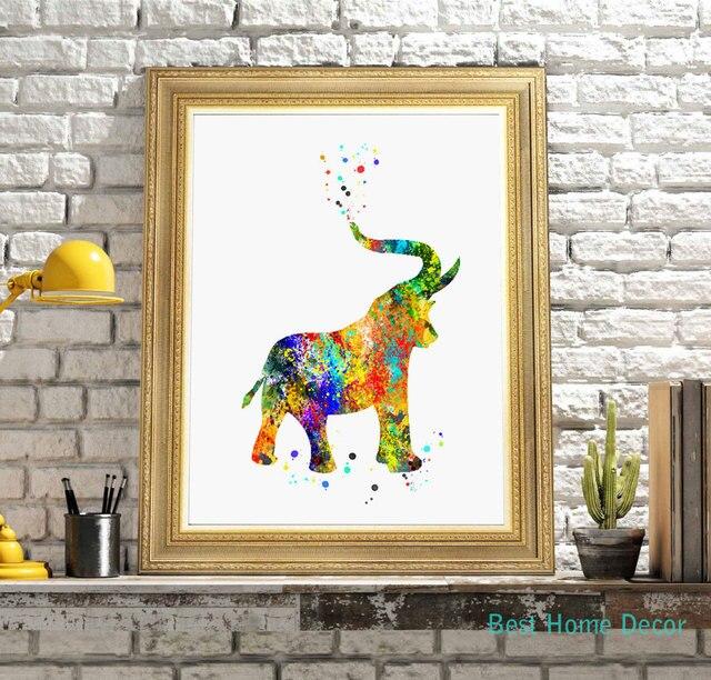 Elephant Watercolor Fine Art Print Wall Hanging Paper Poster Decor