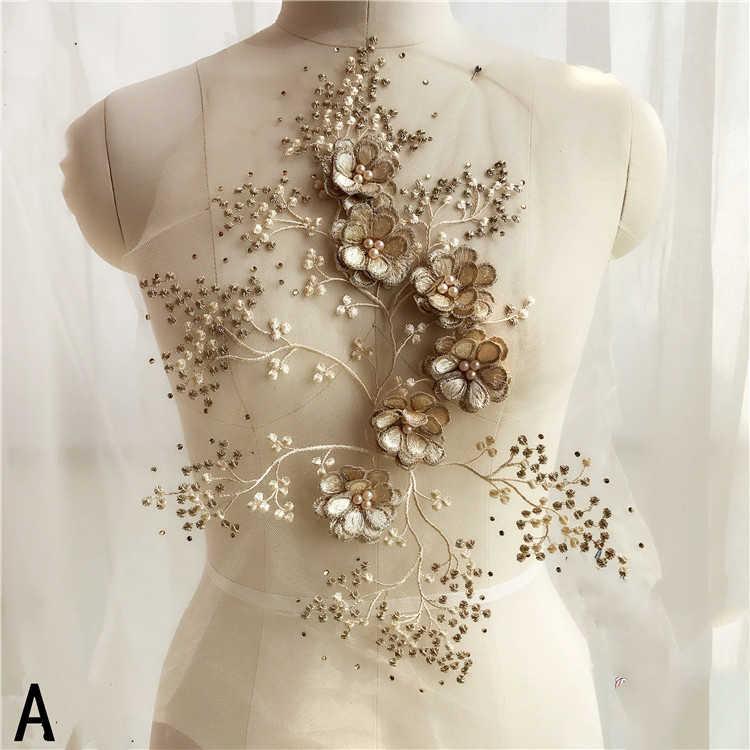 d1549032b 1 piezas de flor encaje bordado de parches para ropa apliques bordado de la  boda