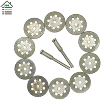 10Pcs 22mm Mini Sharp Diamond Cut Off Rotary Tool Cutting Disc Disks DIY Tools Accessories For Dremel with 2 Pcs Rod Mandrel
