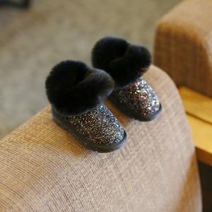 Image 3 - Claladoudou 12 18CM enfants filles Bling Bling bottes de neige 1 2 3 6 ans bébé fille bottines gris bébé chaussures bambin chaussons 11