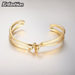 Image 3 - Enfashion 매듭 팔목 팔찌 Manchette Armband 골드 컬러 루프 라인 팔찌 팔찌 여성용 팔찌 Bangles Pulseiras B8782