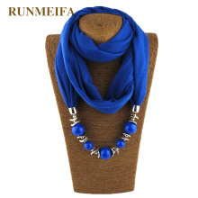 RUNMEIFA Pendant Necklace Scarf For Women Chiffon Cotton Scarf With Pendant Foulard Femme Accessories Scarf Free Drop Shipping runmeifa new pendant scarf necklace bohemia necklaces for women chiffon scarves pendant jewelry wrap foulard female accessories