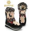 2016 Рождество дорогой теплые сапоги 30% смешанные натуральной шерсти женщин зимние сапоги девушка снегоступы женская обувь модные ткани сапоги