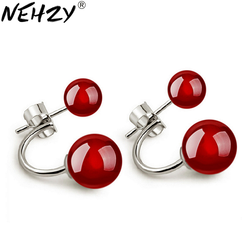 925 sterling silver new black red earrings lovely fashion jewelry for women two wearing a high-quality manufacturers, wholesale