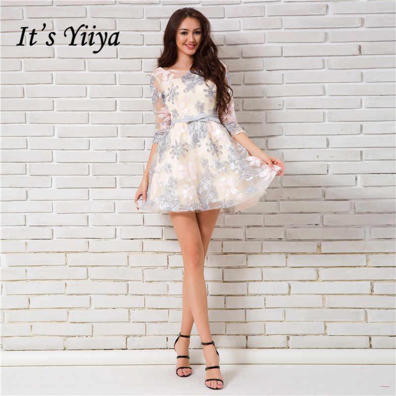 44ed922bacb Это YiiYa 2018 Новый Милая Половина рукава спинки мини ужин коктейльные  платья Цветочный принт вечерние короткие