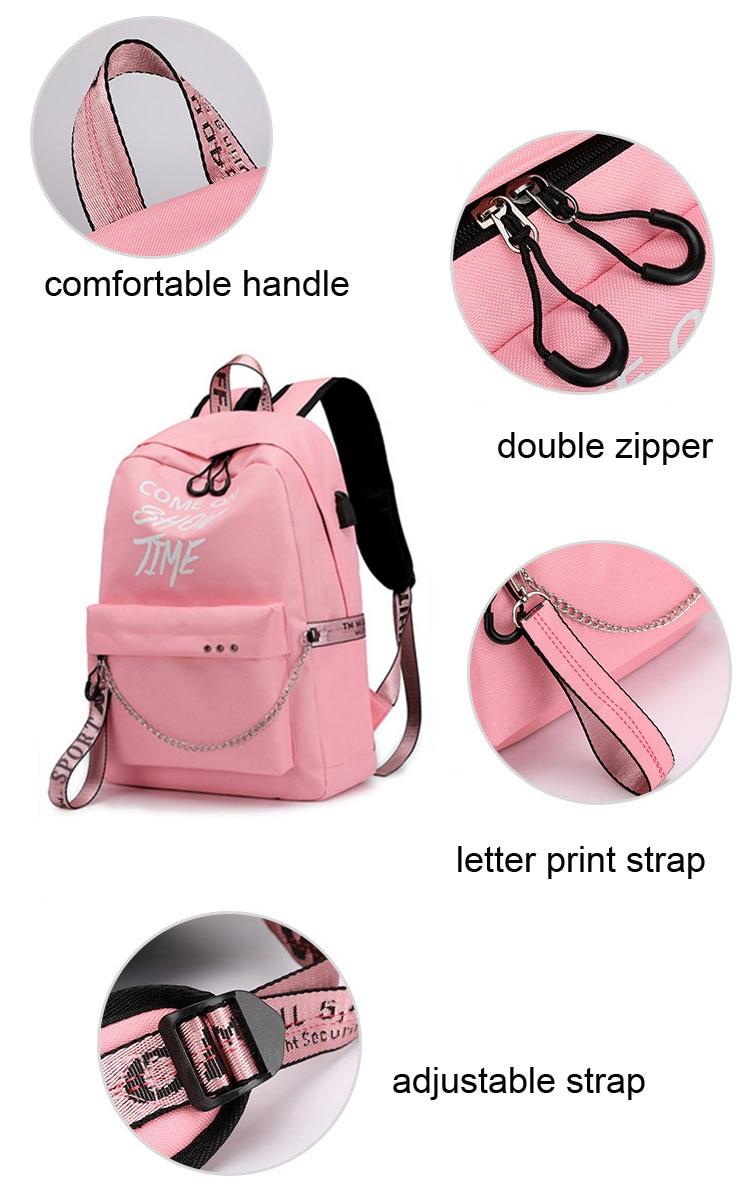 HTB1rG9vXtzvK1RkSnfoq6zMwVXaT Winmax Luminous USB Charge Women Backpack Fashion Letters Print School Bag Teenager Girls Ribbons Backpack Mochila Sac A Dos