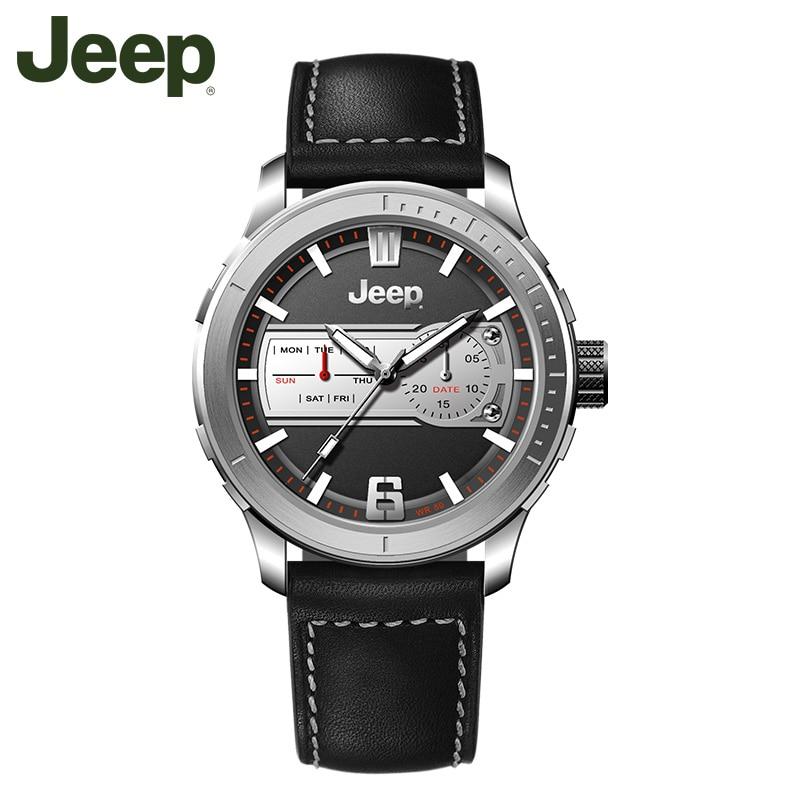 12482b5df2b Jeep Originais Relógio de Pulso Relógio de Quartzo dos homens de Luxo Da  Marca de Couro Fivela Casuais Moda Luminosa JPW65601 50 m Relógios À Prova D   Água ...