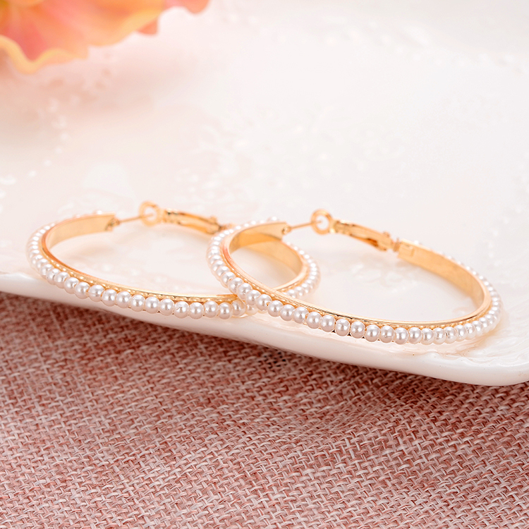 2017 Full Simulated Pearl Earrings For Women Bijoux Femme Crystal Gold Color Drop Earrings Wedding Brincos Wholesale Price
