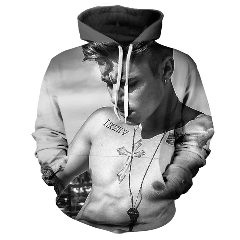 5 Styles Real American size justin bieber 3D Sublimation Print OEM Hoody/Hoodie Custom made Clothing plus size
