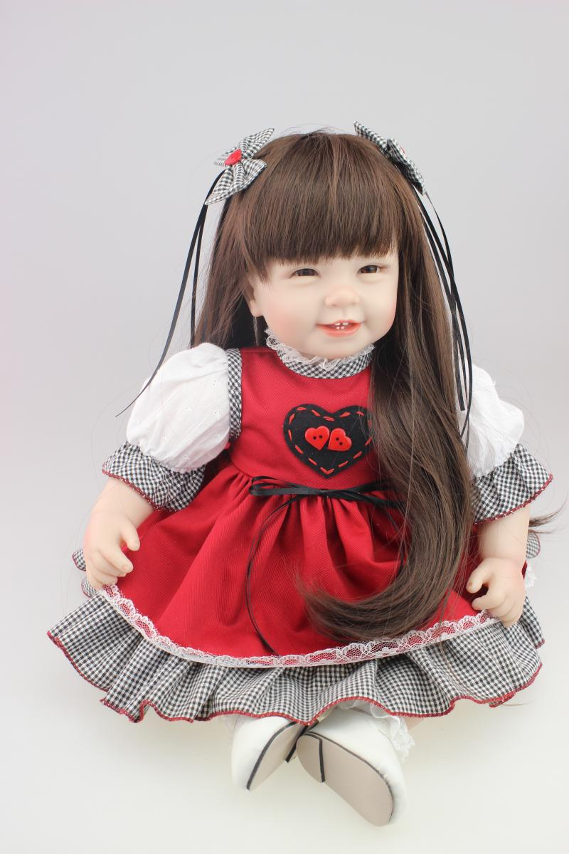 NPK Reborn Girl Baby Dolls 22 inch Bonecas Reborn Silicone Limbs Cloth Body Doll Real Alive Babies Toys Kids Birthday Gift 22 inches soft silicone reborn baby dolls cloth body real looking newborn alive girl babies boneca toy kids birthday xmas gift