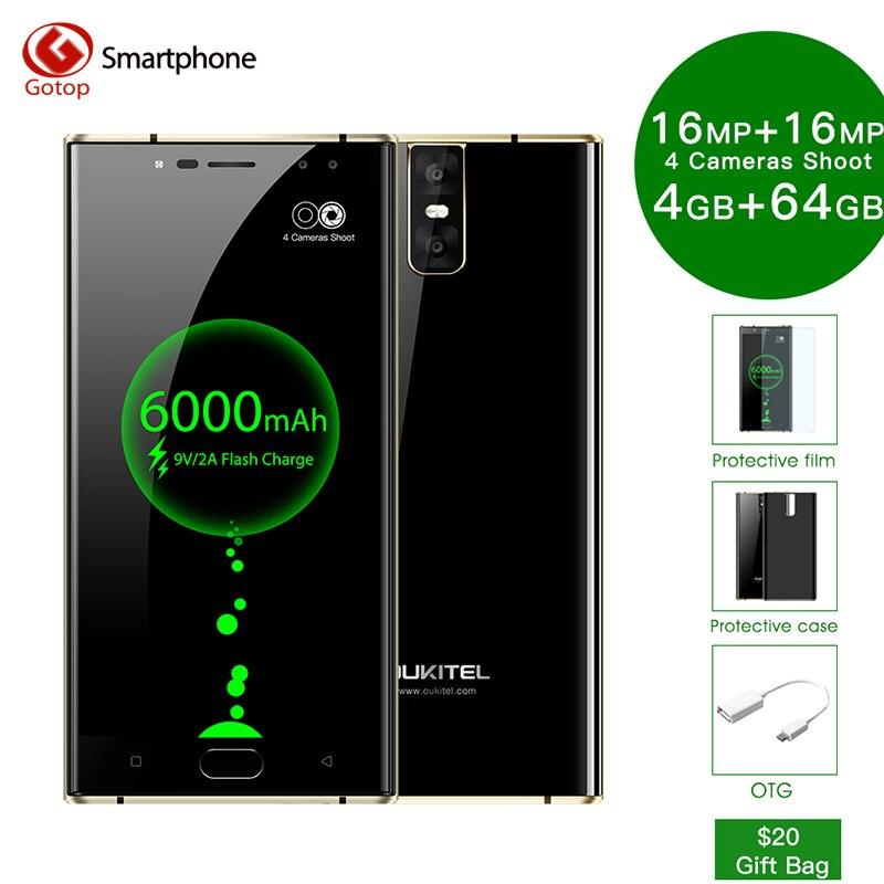 Oukitel K3 6000 мАч Батарея Смартфон Android 7,0 16MP + 2MP мобильный телефон 4 Оперативная память 64G ROM 4 камеры 4G LTE отпечатков пальцев сотовый телефон