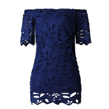 2019 Hot Womens Elegant Dress Short Sleeve Lace Hollow Off Shoulder Bodycon Mini Dress Ladies Casual Party Dress Multicolor open shoulder sleeve womens lace dress