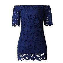 2019 Hot Womens Elegant Dress Short Sleeve Lace Hollow Off Shoulder Bodycon Mini Dress Ladies Casual Party Dress Multicolor khaki hollow design off shoulder bodycon party dress