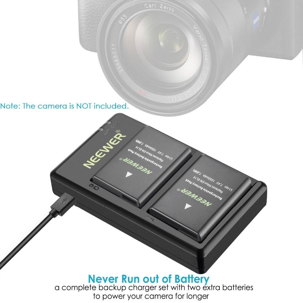 Neewer EN-EL14 EN-EL14A Battery Charger and 2-Pack Rechargeable Li-ion Batteries For Nikon D5600 D3300 D3500 D5100 D5500 D3100