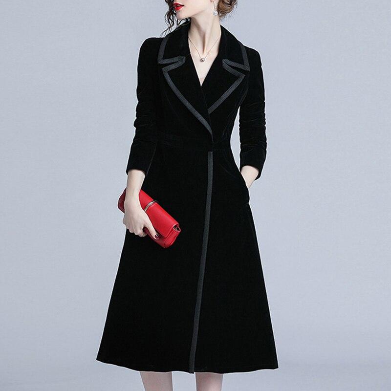 Новое поступление, женский модный Удобный бархатный Тренч, профессиональный OL темперамент, однотонный теплый длинный черный Тренч для деву