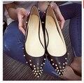 Шпильки Ремни Обувь Квартир Женщин Острым Носом Нубук Кожа Мелкая Рот Обувь Одного Осенью Случайные Плоские Низкие Обувь Женская