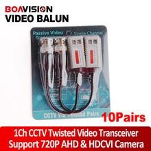 10Pairs Enhanced Twisted CCTV Video Balun Passive Transceivers UTP Balun BNC Cat5 Support Distance 200m HDCVI/AHD/TVI Camera