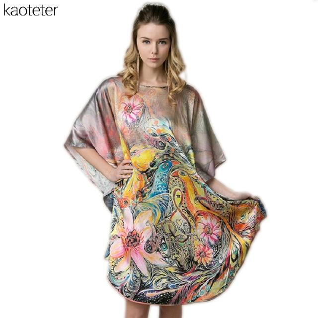 100% Mulheres De Seda Real Solto Homewear Loungewear Noite de Verão Saia Uma Peça Plus Size Camisolas de Desgaste Casa Pintados À Mão YBP007