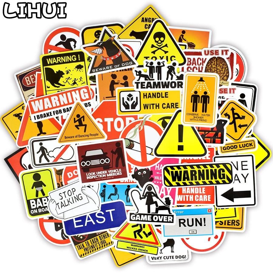 100 PCS Banning Signs Stickers Warning Danger Reminder Waterproof Decal Sticker To DIY Car Laptop Suitcase Motorcycle Snowboard