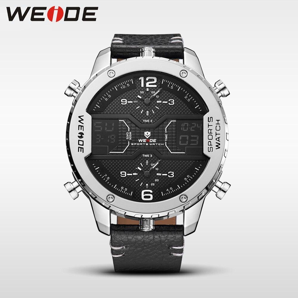 WEIDE натуральная Роскошные брендовые новые часы кварцевые мужские спортивные часы двойной LED дисплей противоударный водонепроницаемый цифр...