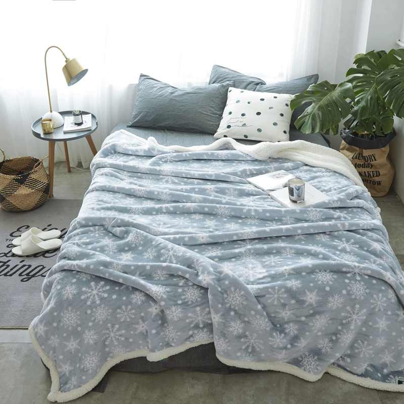 New Snowflake Plaids Soft Fleece Blankets Double Layer Thick Winter Plush Throw on Sofa cover Bed Plane Bedspreads 200*230CM