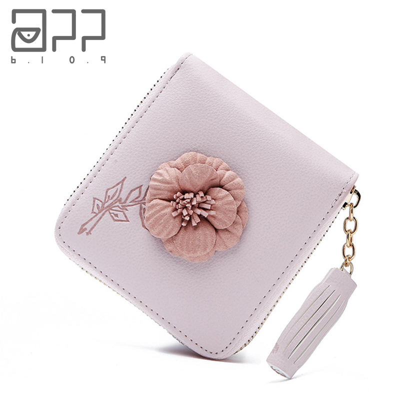 APP BLOG Brand Flowers Women's Wallet Coin Purse 2017 Newest Fashion Small Short Clutch Female Leather Purses Card Holder Bags