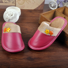 New Unisex Cotton Home Slippers Spring Warm Genuine Leather Slippers Indoor Cartoon Slippers Shoes For Teen Boys Girls