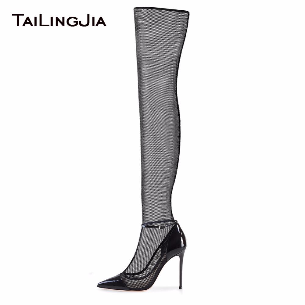 Pointed Toe Black Woman Summer Fishing Net Boots Fashion High Heel Over Knee Boots Ladies Sexy Fashion Supper High Heel Woman