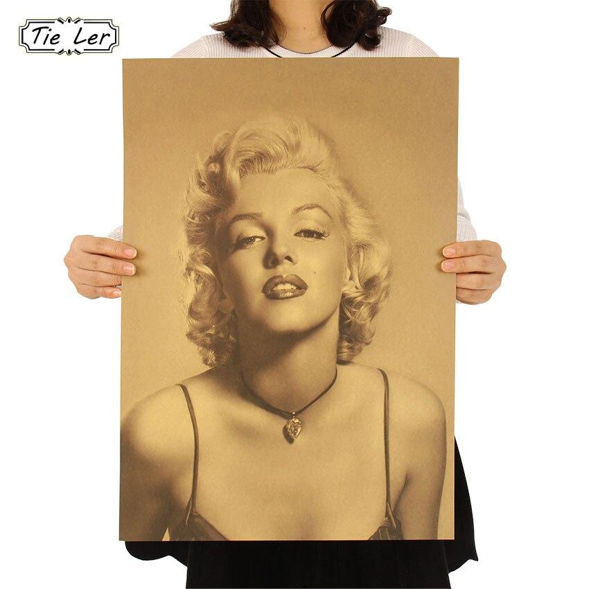 TIE LER Vintage Classic Marilyn Monroe Poster Cafe Bar Home Decor Painting Retro Kraft Paper Wall Sticker Wallpaper 51.5X36cm