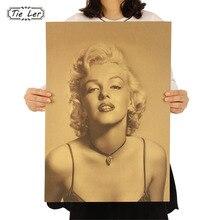 TIE LER Vintage clásico Marilyn Monroe Poster Café Bar decoración del hogar pintura Retro Kraft pegatinas para la pared de papel tapiz 51.5X36cm