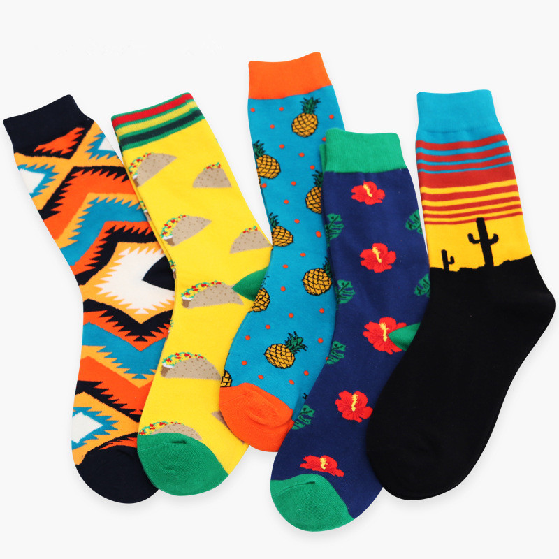 New Men Socks Crew Cactus Floral Printed Skate Hip Hop Fashion Casual Happy Funny Brand Calcetines Meias Autumn Sox Dropshipping
