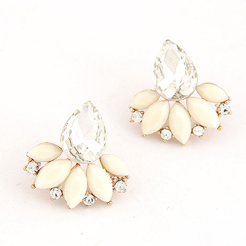 New Brand Design Retro Exquisite Women Acrylic Flower Crystal Gem Cubic Zircon Stud Earrings For Women Accessories PT31
