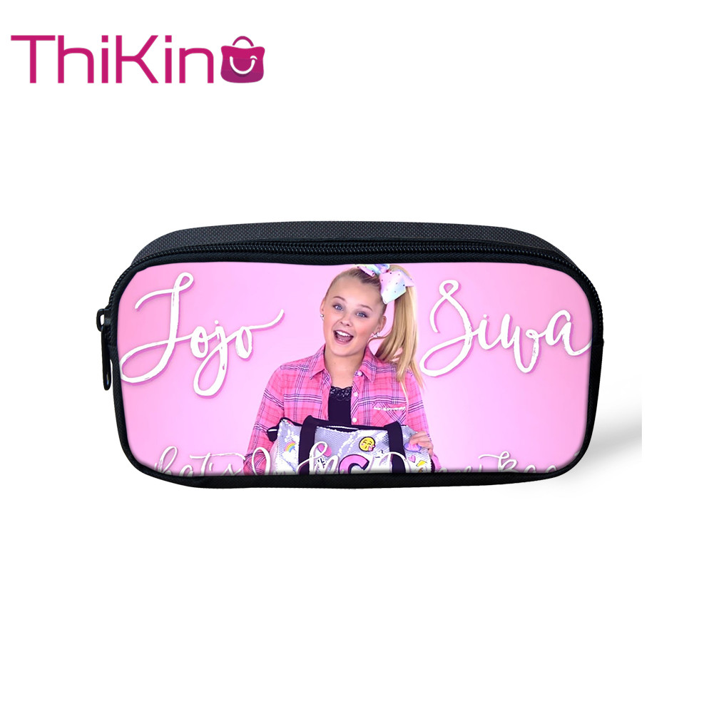 Thikin Jojo Siwa Casual Pencil Bags Pen Bag for Girls  Pen Case Student School Supplies Storage HandBags Pen Purses for Kids(China)